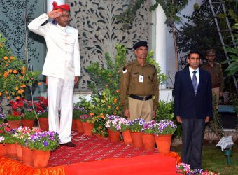 National flag hoisting at CM Residence