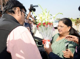 CM Vasundhara Raje Assembly welcomed on arrival - Vasundhara Raje Assembly