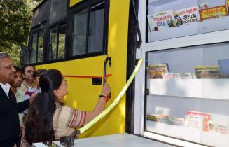 CM Vasundhara Raje launched Mobile Library van 'School on Wheels'