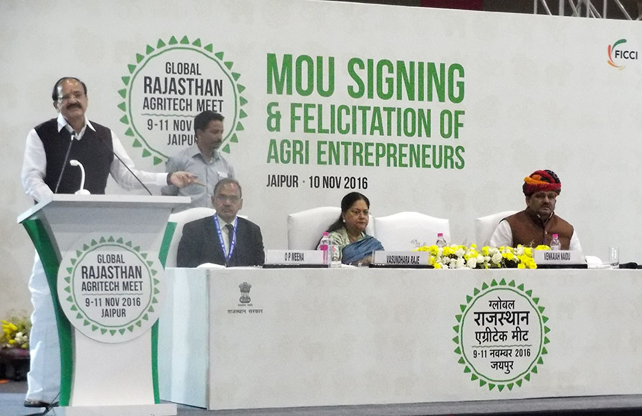 Union Minister for Urban Development Housing, Urban Poverty Alleviation, & Parliamentary Affairs, Mr. Venkaiah Naidu addressing the gathering during the signing of MoUs today at 'GRAM 2016' at JECC, Sitapura, Jaipur.