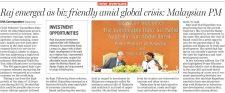 Raj emerged as biz friendly amid global crisis: Malaysian PM