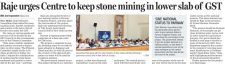 Raje urges Centre to keep stone mining in lower slab of GST