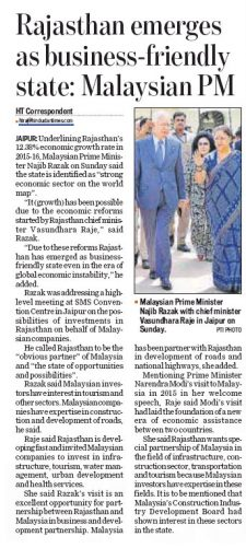 Rajasthan emerges as business-friendly state: Malaysian PM
