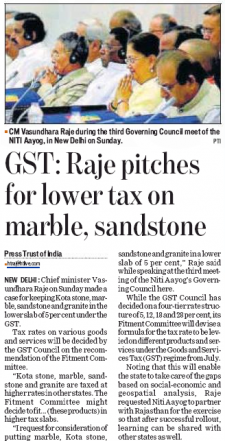GST: Raje pitches for lower tax on marble, sandstone