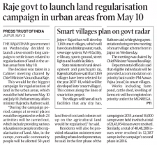 Raje govt to launch land regularisation campaign in urban areas from May 10