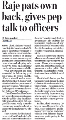 Raje pats own back, gives pep talk to officers