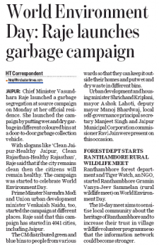 World Environment Day: Raje launches garbage campaign