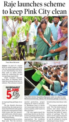 Raje launches scheme to keep Pink City clean
