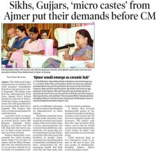Sikhs, Gujjars, `micro castes' from Ajmer put their demands before CM