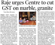 Raje urges Centre to cut GST on marble, granite