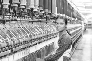On top: Jannat, 20, operates and manages the ring frame machine at Orient Syntex in Bhiwadi, Alwar. She is from Khedli Gadasiya village in the adjoining Bharatpur district.
